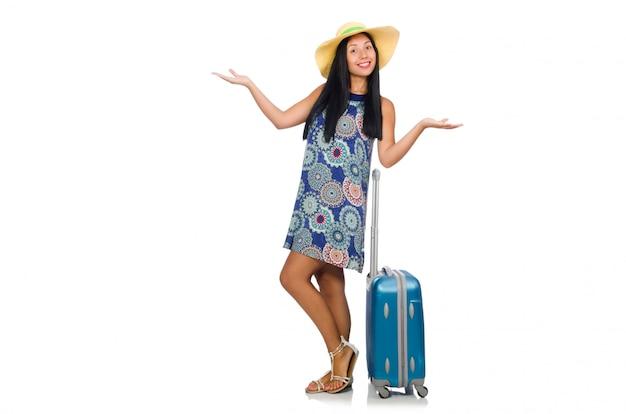 Donna con la valigia isolata su bianco Foto Premium