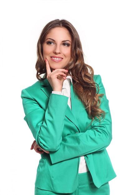 Donna d'affari in abito verde Foto Gratuite