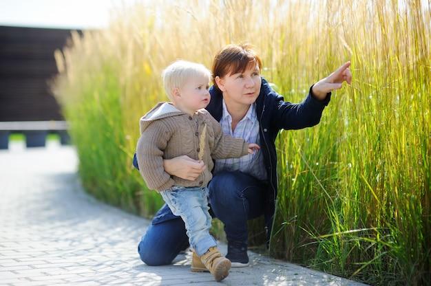 Donna di medio evo e il suo nipote bambino sveglio che giocano all'aperto in primavera soleggiata o in autunno giorno Foto Premium