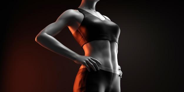Donna fitness su sfondo nero Foto Premium