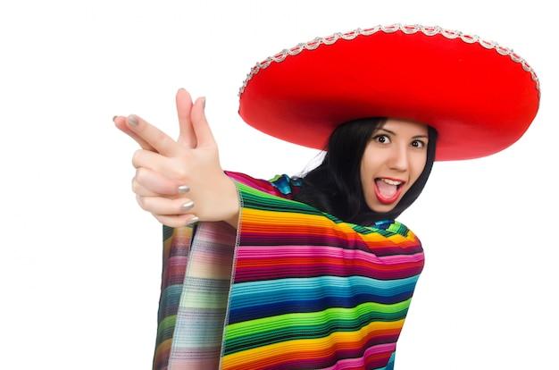 Donna messicana nel concetto divertente su bianco Foto Premium