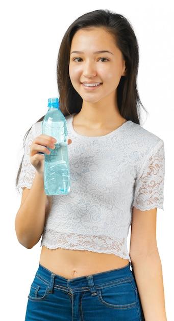 Donna sportiva con acqua Foto Premium