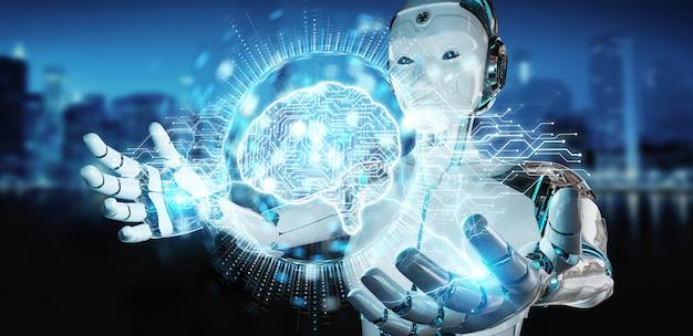 Donna umanoide bianca che usando la rappresentazione digitale dell'ologramma 3d dell'icona di intelligenza artificiale Foto Premium