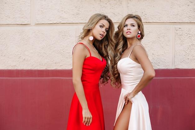 Donne attraenti in abiti eleganti in posa Foto Premium