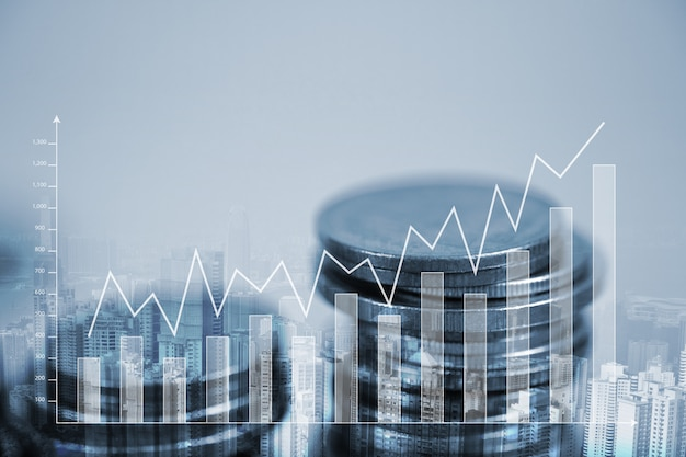 Doppia esposizione pila di monete con grafico finanziario Foto Premium
