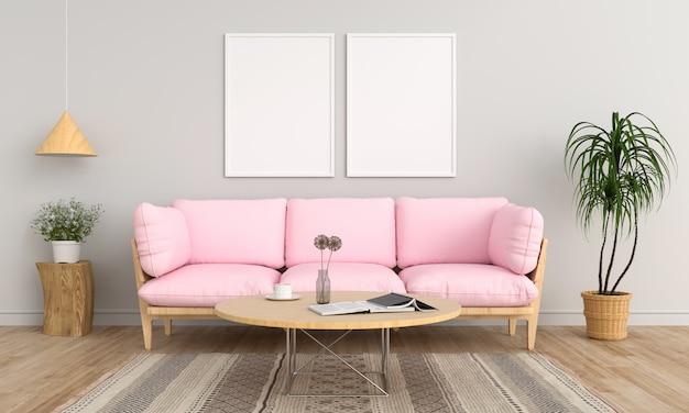 Due cornice in bianco nel soggiorno Foto Premium