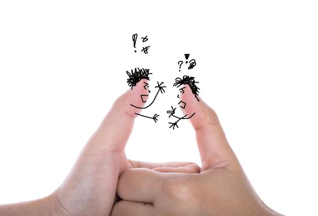 Due dita uomo d'affari ha argomento e isolato su bianco Foto Gratuite