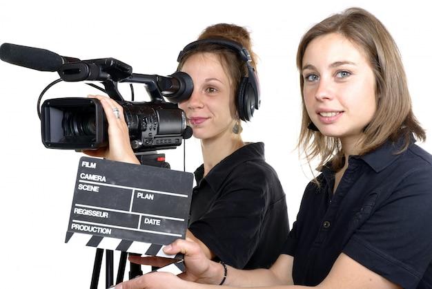 Due giovani donne con una videocamera Foto Premium
