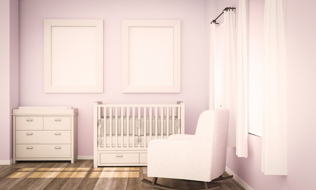 Due poster in bianco mockup su rosa baby room Foto Premium