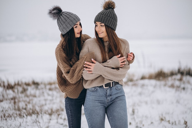 Due ragazze che camminano insieme in un parco di inverno Foto Gratuite