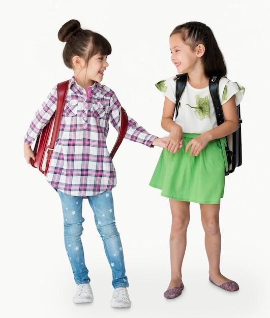 Due ragazze con uno zaino Foto Premium