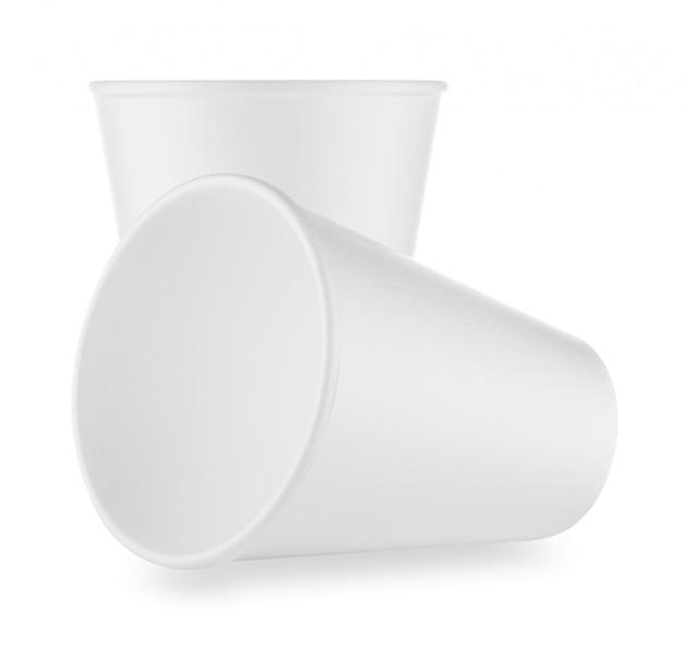 Due tazze monouso bianche Foto Premium