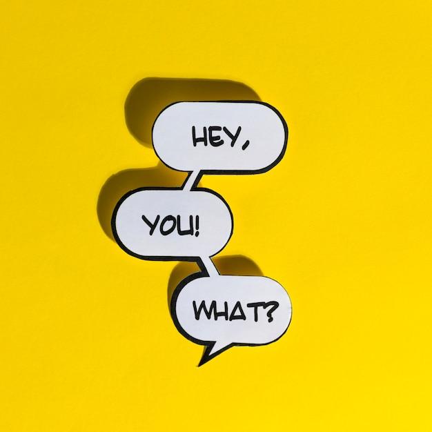 Ei, tu! che cosa? illustrazione vettoriale parole esclamativo Foto Gratuite