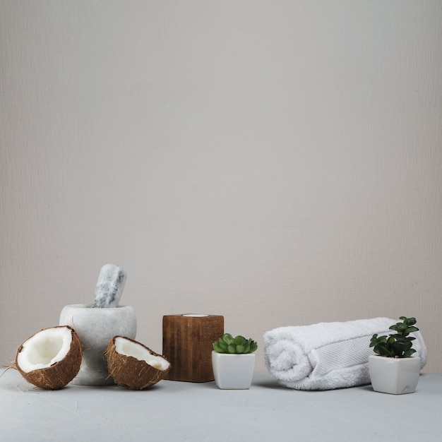 Elementi naturali per spa con cocco Foto Gratuite