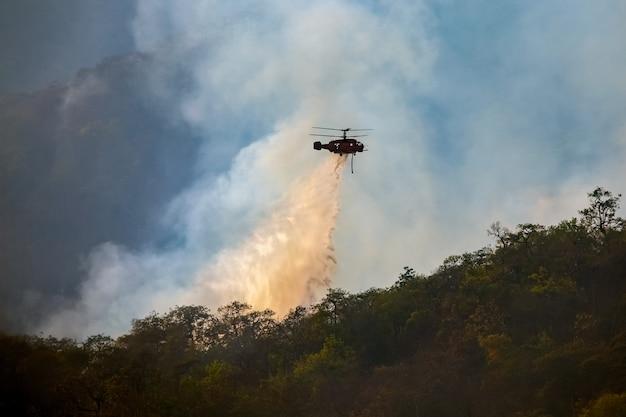 Elicottero che scarica acqua sull'incendio forestale Foto Premium