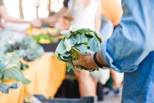 Equipaggi il brassica di romanica della tenuta mentre comprano la verdura nel mercato Foto Gratuite
