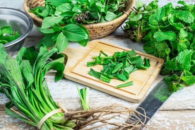 Erbe di menta e erbe di culantro per la salute Foto Premium