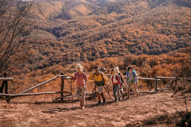 Escursionisti che scalano la collina. Foto Premium