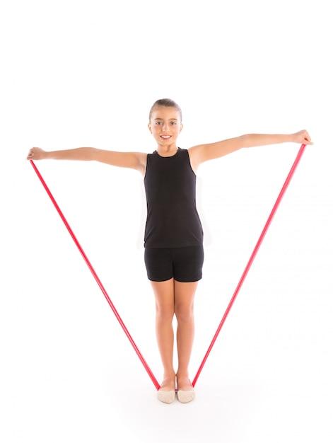 Esercizio di fitness per bambini con fascia di resistenza in gomma Foto Premium