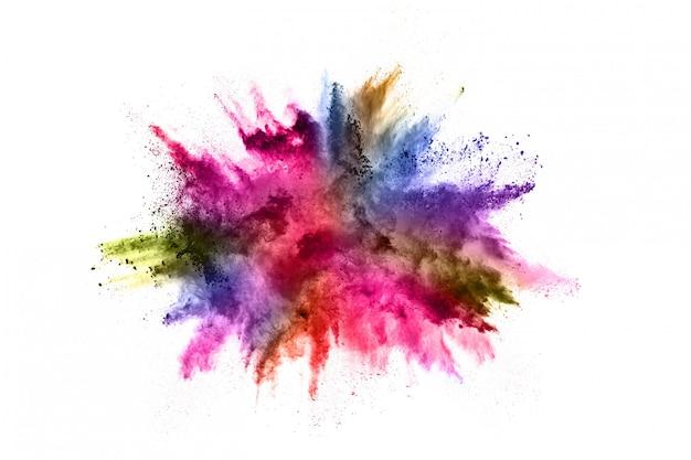 Esplosione di polvere colorata su bianco. Foto Premium