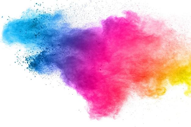Esplosione di polvere multicolore su sfondo bianco. Foto Premium