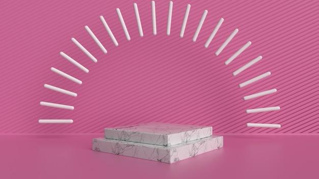 Espositore per prodotti in rosa e marmo Foto Premium