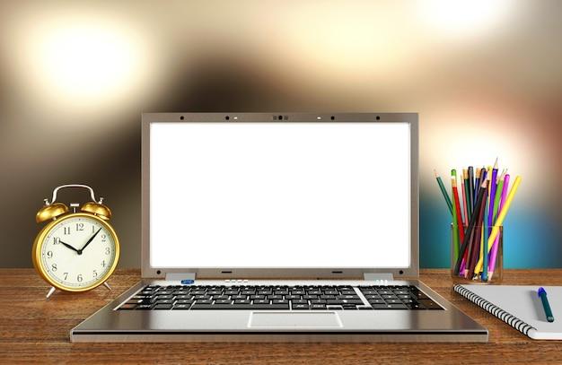 Esposizione del computer portatile per derisione su sul tavolo di lavoro con il fondo della sfuocatura, rappresentazione 3d Foto Premium
