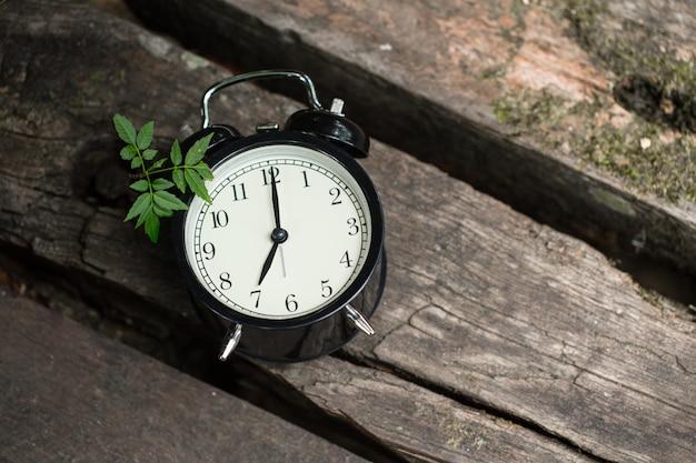 Esposizione di stile retrò vecchio orologio 7 su legno sullo sfondo della foresta. Foto Premium