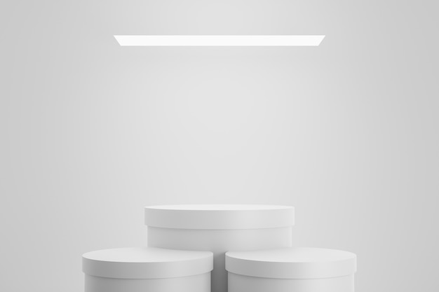 Esposizione moderna del piedistallo o del podio con il concetto della piattaforma sul fondo bianco dello studio. supporto per mensola vuoto per mostrare il prodotto. rendering 3d. Foto Premium