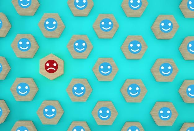 Estratto del viso emozione felicità e tristezza, unico, pensa in modo diverso, individuale e distinguendosi dalla massa. esagono in legno con icona su sfondo blu. Foto Premium