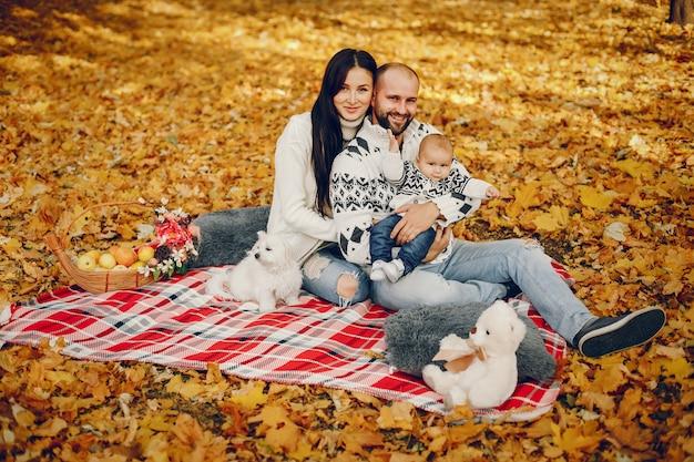 Famiglia con il figlio in un parco in autunno Foto Gratuite