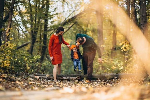 Famiglia con un figlio piccolo nel parco di autunno Foto Gratuite