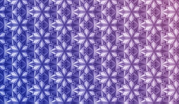 Fantasia tridimensionale a geometria leggera con fiori a sei punte Foto Premium