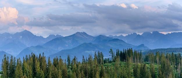 Fantastiche montagne innevate nelle splendide nubi cumuliformi Foto Premium
