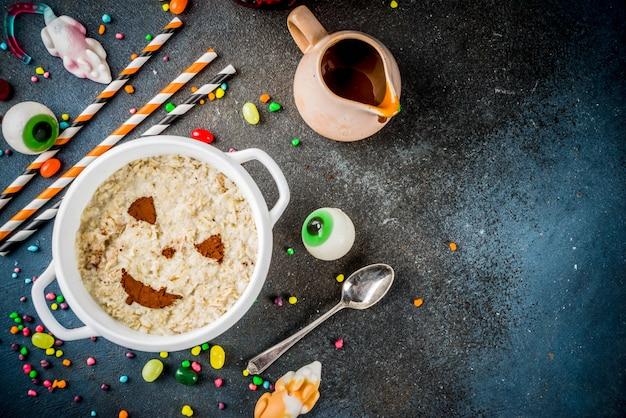 Farina d'avena colazione di halloween Foto Premium