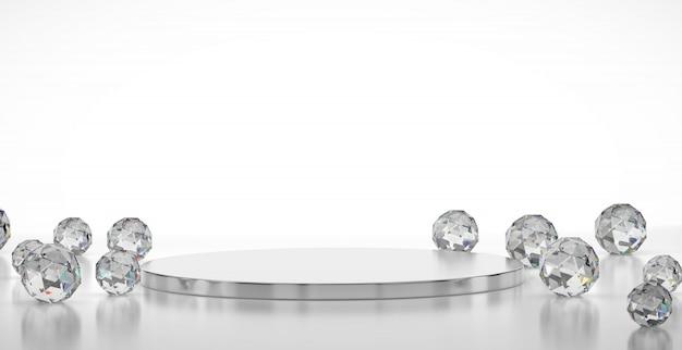Fase di lusso astratta con la geometria caustica delle gemme, modello per la pubblicità del prodotto, rappresentazione 3d. Foto Premium