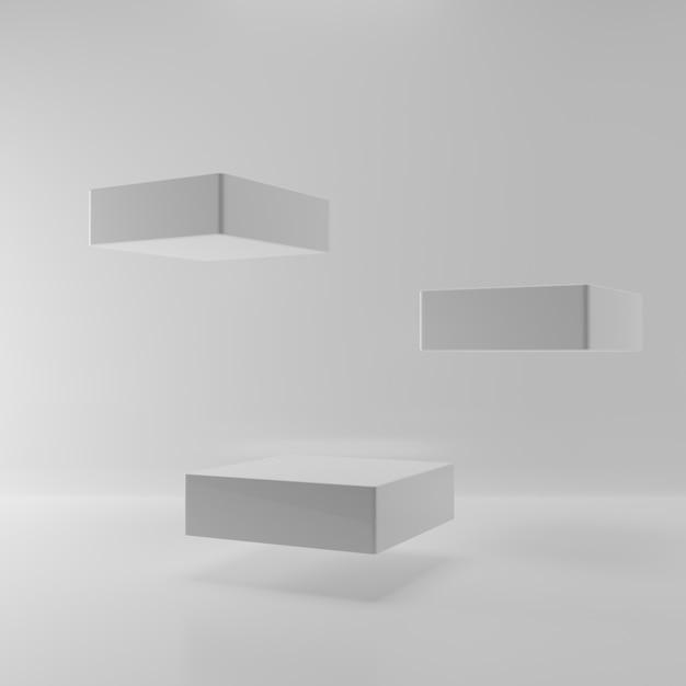 Fase quadrata di galleggiamento di levitazione su priorità bassa bianca. un estratto di tre piedistalli nella stanza vuota per la presentazione di pubblicità del prodotto. modello di mockup podio interno. illustrazione 3d rendering Foto Premium