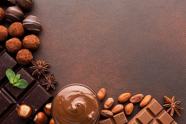 Fave di cacao con copia spazio diffuso Foto Gratuite