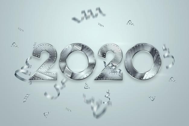 Felice anno nuovo, numeri metallici 2020 design su uno sfondo chiaro. buon natale Foto Premium