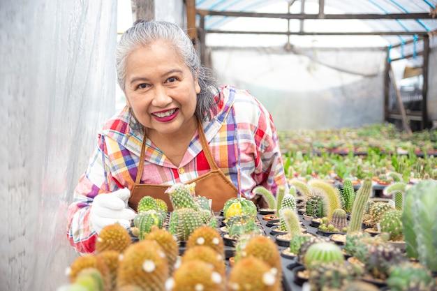 Felice femmina di sambuco con bellissimo cactus Foto Gratuite