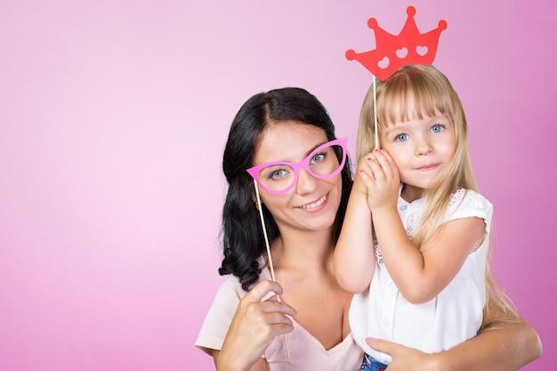 Felice ragazza madre e figlio Foto Premium