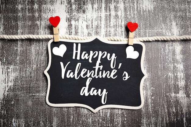 Felice san valentino scritte in una lavagna Foto Premium