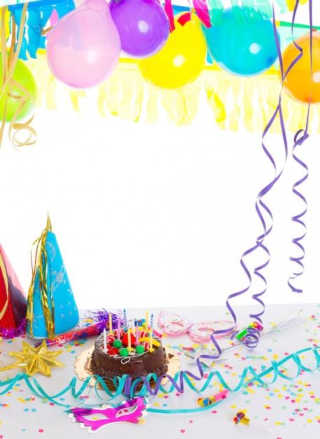 Festa di compleanno per bambini con torta al cioccolato Foto Premium