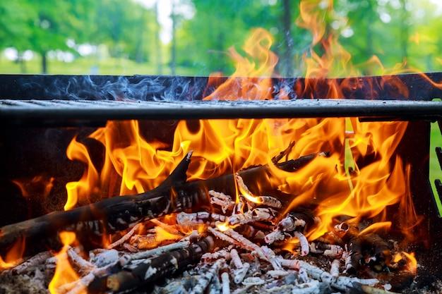 Fiamme ardenti e carbone incandescente in bbq, caldo falò arancione con pezzi di legno Foto Premium