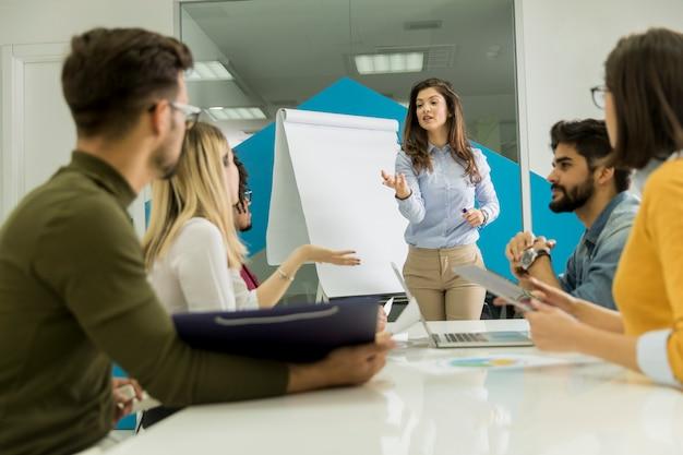 Fiducioso giovane leader della squadra che dà una presentazione a un gruppo di giovani colleghi mentre si siedono raggruppati dalla lavagna a fogli mobili in ufficio Foto Premium