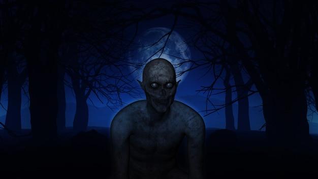 Figura demoniaca 3d in boschi spettrali Foto Gratuite