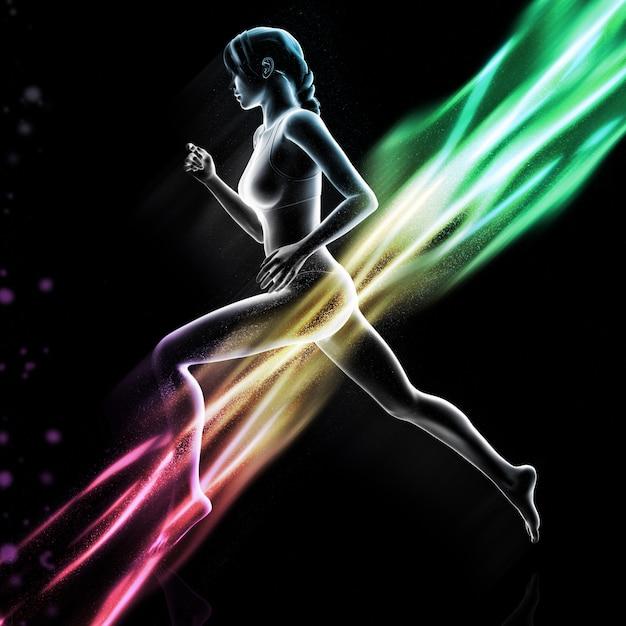 Figura femminile 3d che funziona con le onde luminose variopinte Foto Gratuite