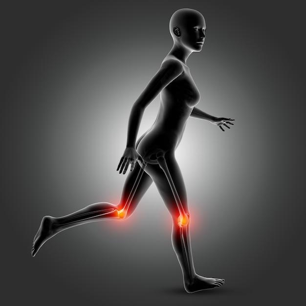 Figura medica femminile 3d nella posa corrente con le ossa del ginocchio evidenziate Foto Gratuite