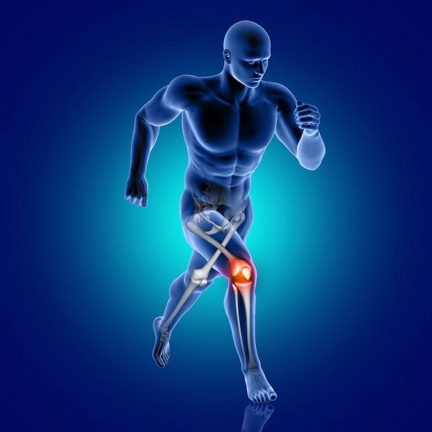Figura medica maschio 3d che funziona con l'osso di ginocchio evidenziato Foto Gratuite