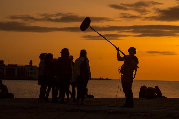 Film crew team scene di film Foto Premium
